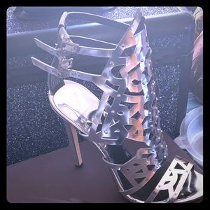 Brian Atwood Laconica Mirrored Cut Cage Sandal